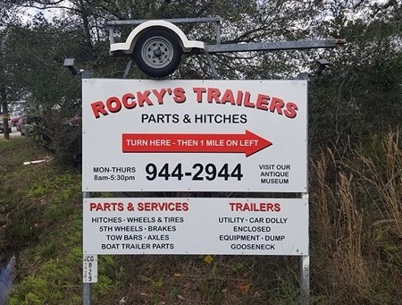 Rockys Trailers Sign